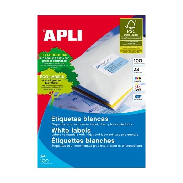 Apli Laser Labels White 24UP 01273