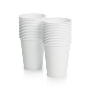 DISPOSABLE WHITE PLASTIC CUP 200ML, PKT 50