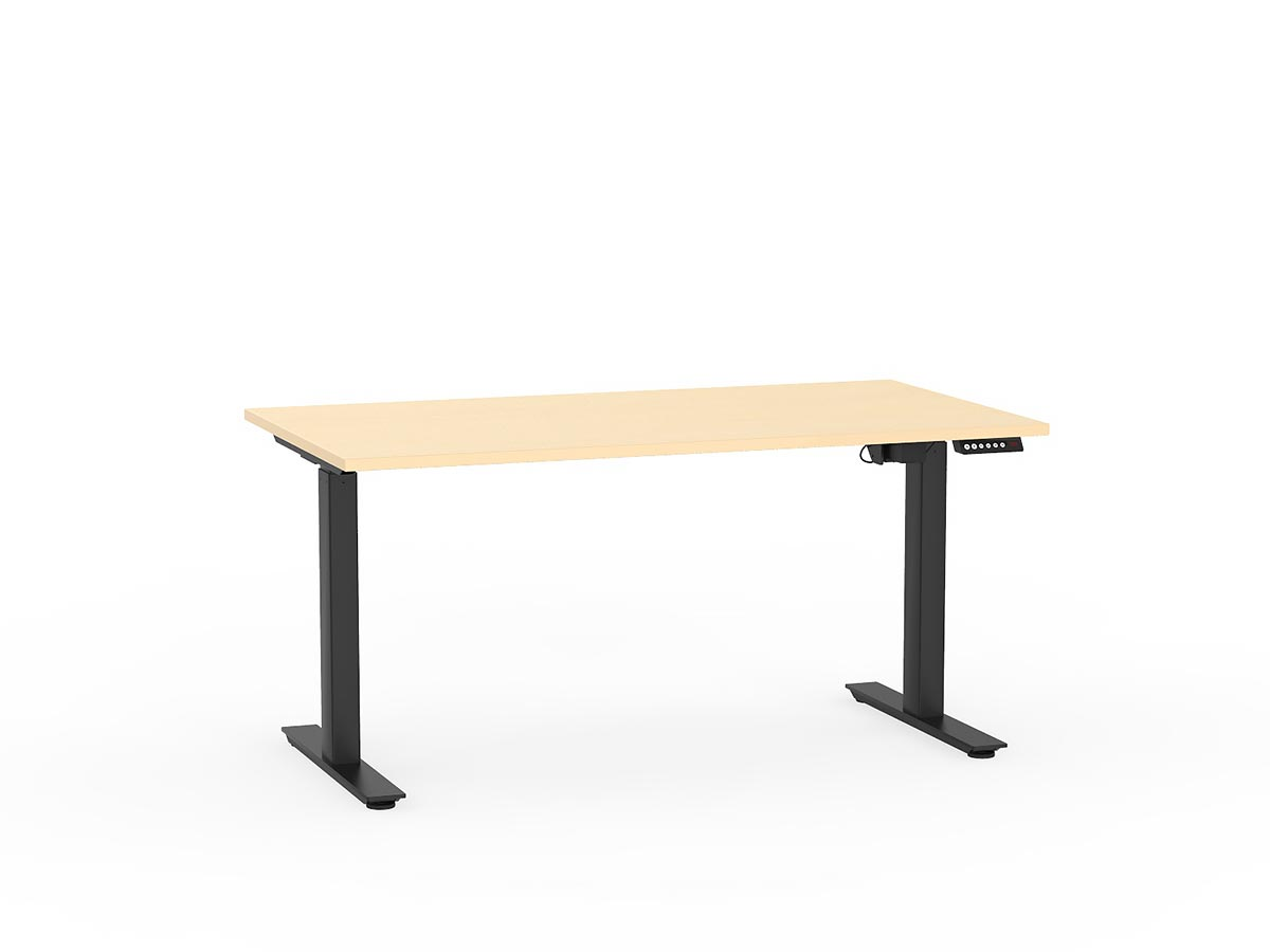 Agile Electric Single Sided Desk - Black Legs Nordic Maple Top